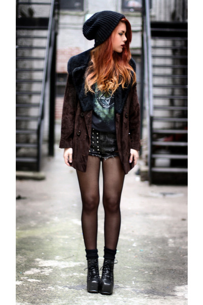 black VJ-style shoes - crimson vintage jacket - dark gray second hand t-shirt