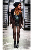 black VJ-style shoes - crimson vintage jacket - dark gray second hand t-shirt