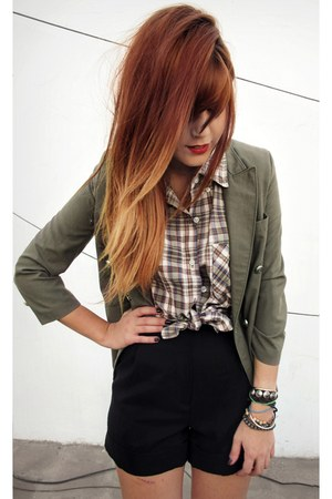 olive green vintage blazer - black iwearsin shorts - brick red vintage blouse