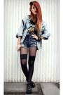 Black-bongo-shoes-sky-blue-vintage-jacket-blue-yayer-shorts