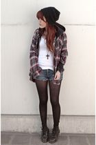 gray boyfriends shirt - black Docs shoes - blue vintage shorts