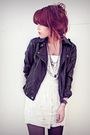 Black-forever-21-jacket-white-self-made-dress-gray-claires-tights