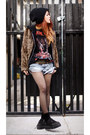Light-brown-romwe-jacket-periwinkle-vintage-shorts-black-boyfriends-t-shirt