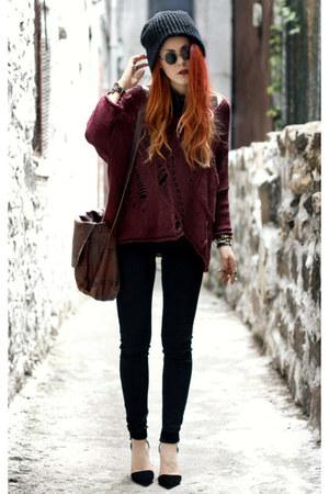 brick red Alainnbella jumper - black Jessica Buurman shoes