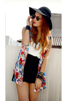 brick red Yayer blouse - black Forever21 hat - black ROT skirt