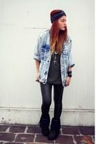 black AUKOALA boots - light blue vintage jacket - black GiGi Vintage leggings