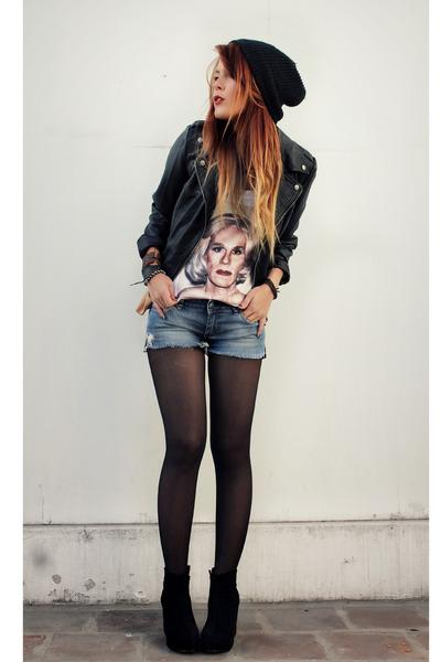 Black F21 Jackets Black VJ Style Wedges | u0026quot;Lady Warhol Teeu0026quot; by lehappy | Chictopia