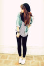 Black-tights-black-vintage-top-white-shoes-blue-vintage-jacket
