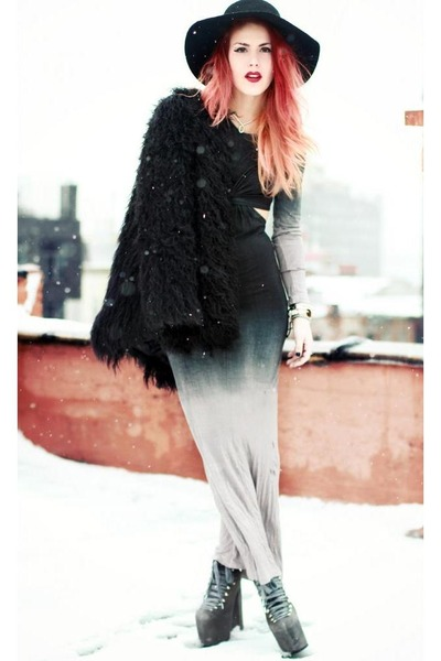 black romwe coat - periwinkle dress cage city dress - black OASAP hat