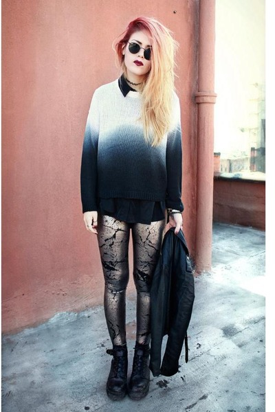 black To Be Announced shoes - silver Black Milk leggings