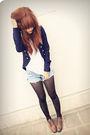 White-unknown-t-shirt-blue-f21-blazer-blue-vintage-shorts-brown-vintage-sh