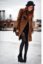 brown romwe coat - black jessicabuurman shoes - tawny vintage bag