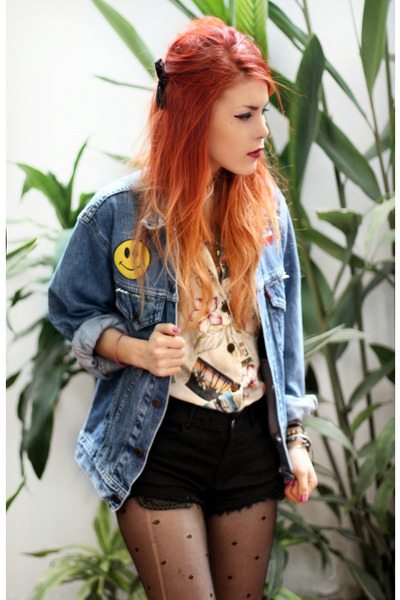 blue wilmawinston jacket - black She Inside shorts - La Petite Marmoset blouse