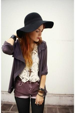 black iwearsin tights - amethyst vintage shorts - violet fashionpash blouse - cr