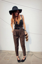 black Forever 21 hat - black vintage top - brown wwwiwearsincom iwearsin pants