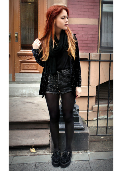 black vintage blouse - black vintage top - black romwe wedges