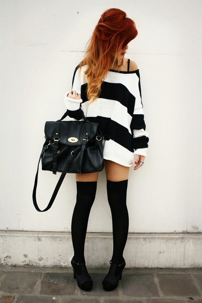 black ROT sweater - black fashionpash shoes - black wholesale bag