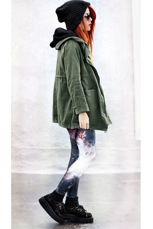 black Black Milk leggings - olive green Chicwish jacket