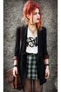 Dark-green-vintage-skirt-black-romwe-blazer