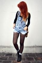 sky blue vintage jumper - black vintage boots - ivory romwe socks