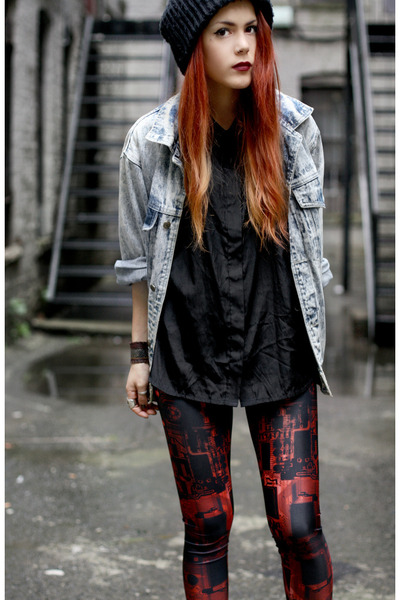 Market HQ blouse - vintage jacket - BlackMilk leggings