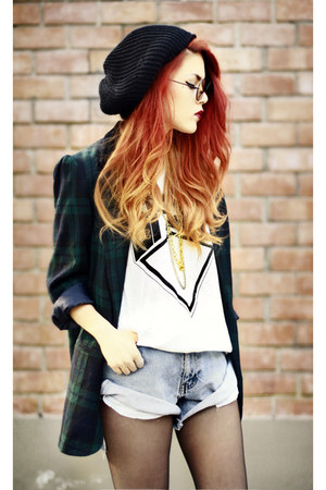 dark green vintage blazer - sky blue vintage shorts