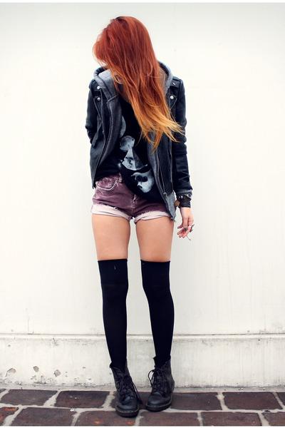 black Forever21 jacket - black doc martens boots - amethyst vintage shorts
