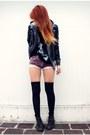 Black-doc-martens-boots-black-forever21-jacket-amethyst-vintage-shorts-bla