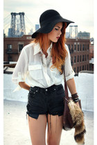 off white vintage blouse - black Forever 21 hat - dark gray vintage shorts