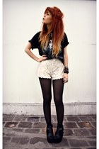 black romwe jacket - white Chicwish shorts - black boyfriends t-shirt