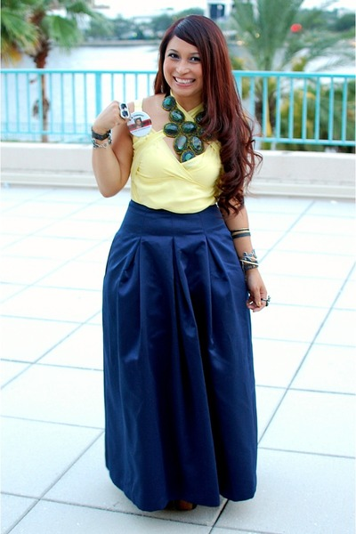 cabochon necklace - neon yellow Express blouse - navy satin thrifted skirt