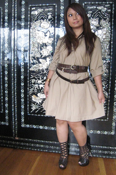 dress - Bebe boots - belt - bracelet