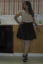 Express blouse - Wet Seal skirt - asos tights - Hale Bob shoes - hawaiian bracel
