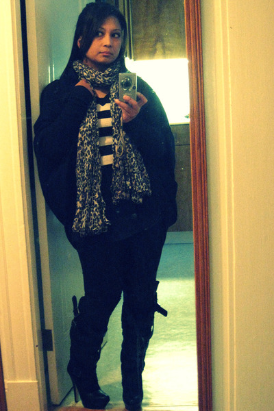 H&M sweater - H&M scarf - Norma Kamali for Walmart - Wet Seal leggings - Bebe bo