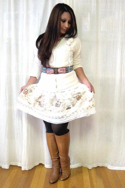 clothing swap dress - Ebay cardigan - zac posen for target belt - Nine West boot