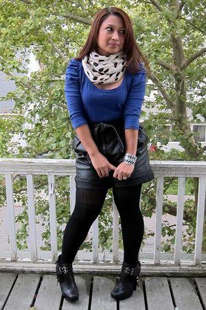 black leather Ebay shorts - black sam edelman zoe shoes - black Target tights