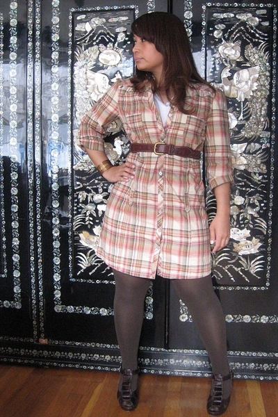 brown braided Gap belt - brown Jeffrey Campbell shoes - plaid dress