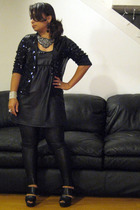 H&M jacket - Urban Outfitters dress - Forever 21 leggings - Bebe shoes - Forever