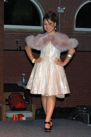 gold clothing swap dress - borrowed fur capelet - black Modern Vintage shoes - s