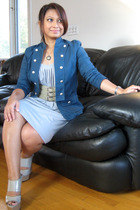 H&M jacket - Wet Seal dress - belt - Marni shoes