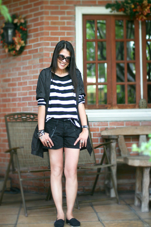 black Mango coat - black TOMS shoes - black Zara shorts - black Zara blouse