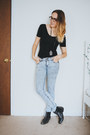 Black-urban-outfitters-boots-light-blue-acid-wash-bdg-jeans
