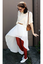 white fish tail skirt - white Urban Outfitters shoes - brick red tights