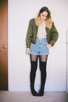 olive green military thrifted jacket - black Urban Outfitters boots