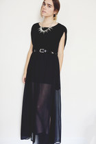 black wedge Urban Outfitters boots - black Express top - black sheer maxi skirt