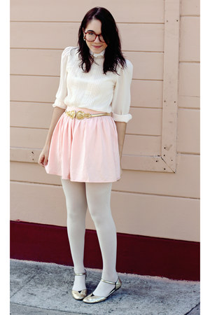 light pink American Apparel skirt - gold shoes - light pink lace vintage blouse