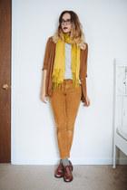 tawny oxfords vintage shoes - tawny vintage blazer - mustard scarf