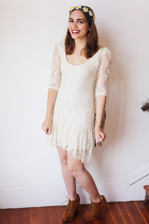 white lace Urban Outfitters dress - light brown suede Jeffrey Campbell wedges