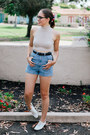 White-urban-outfitters-shoes-sky-blue-denim-american-apparel-shorts