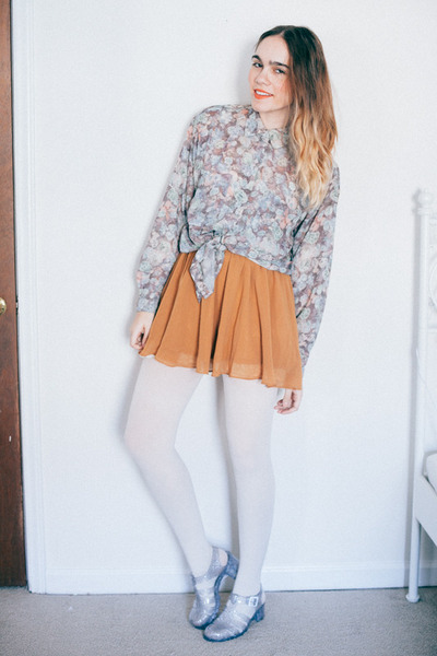 white opaque American Apparel tights - bronze chiffon Forever 21 skirt